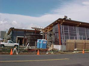 Older photo of Manor Library construction